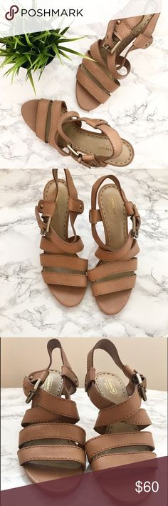 "Coach Tan Strappy Sandals Coach tan leather strappy sandals with leather sole. Size 9 1/2. The only sign of wear is on the bottom soles. 3"" heel. Brass buckles. No box. Coach Shoes Heels"