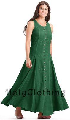 Sage Green Fiona Full Skirt Boho Faerie Renaissance Maxi Sun Dress - Green - - Shop by Size - Dresses Modest Dresses, Nice Dresses, Button Up Maxi Dress, Fancy Kurti, Thing 1, Dress Neck Designs, Special Dresses, Kurta Designs, Western Dresses