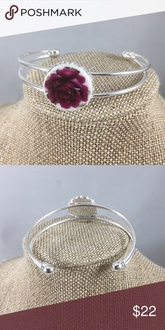Bangle Bracelet with Handcut China Cabachon A handcut 20mm China cabachon upcycled from a vintage plate. Set in a silver tone bangle bracelet. Cute bangle! 🌸 StevebDesigns Jewelry Bracelets