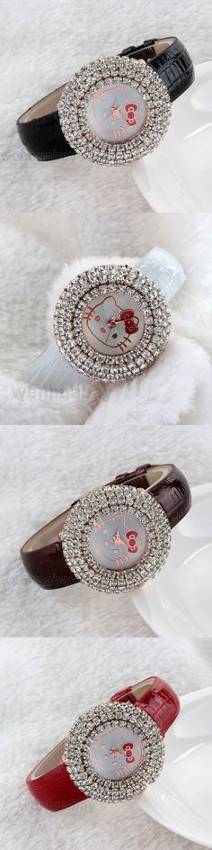 New Arrival Shinning Girls Women Watch Kitty Fashion Kids Crystal Quartz Dress Wrist Watch Xmas Gift