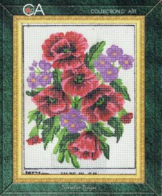 Poppies & Forget-Me-Nots Tapestry Kit - Collection D'Art - 3043K - 14cm x 18cm