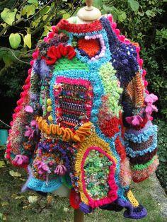 crochet freeform - les créas de nine Crochet Blouse, Knit Or Crochet, Cute Crochet, Irish Crochet, Rowan Felted Tweed, Crochet Mignon, Cycle Chic, Knitwear Fashion, Freeform Crochet