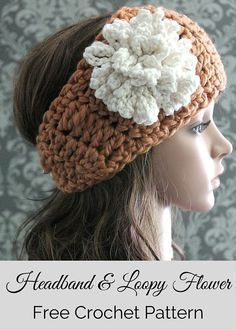 Crochet Flowers Free Crochet Pattern -- a cute crochet headband and loopy flower crochet pattern. By Posh Patterns. - This free crochet headband pattern is quick and easy to make, cute and fashionable, and includes directions for a fun, loopy flower. Crochet Flower Headbands, Crochet Headband Pattern, Crochet Flower Patterns, Crochet Flowers, Knitting Patterns, Hat Patterns, Headband Flowers, Diy Headband, Crochet Braids