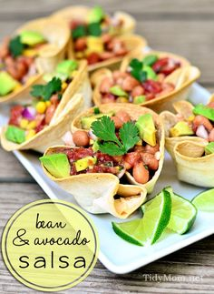 Bean and avocado salsa tortilla cups