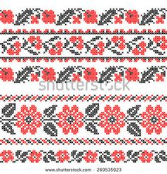 Seamless texture of abstract flat red black flowers Cross Stitch Borders, Cross Stitch Baby, Cross Stitch Samplers, Cross Stitch Designs, Embroidery Motifs, Cross Stitch Embroidery, Palestinian Embroidery, Seamless Textures, Black Flowers