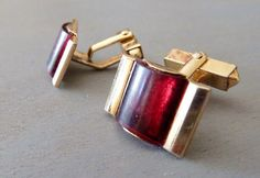 Very Retro Signed Swank 1950s Red Molded Plastic Cuff LInks
