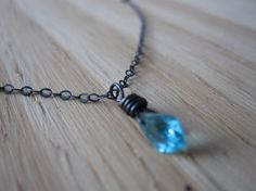 Caribbean blue gem oxidized sterling silver by GemGlassCraft