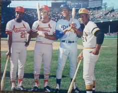 Lou Brock, Joe Torre, Willie Davis, Roberto Clemente — 1971 All Star Game, Tiger Stadium.