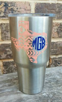 Aztec monogram decal sticker for Yeti or by RaeBirdCreations