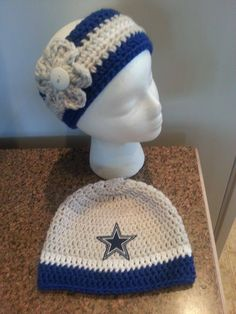 Crochet Dallas Cowboys headband and beanie    https://www.facebook.com/TiffanyVictoriasCreations   **All items are handmade by me in a pet and smoke free environment. Every stitch is made with love. All items should be gently hand washed**
