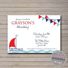 Nautical Invitation Birthday Invitation Ahoy Boy Birthday