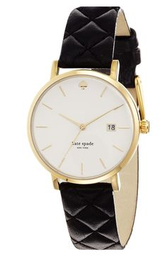 kate spade new york 'metro grand' quilted strap watch