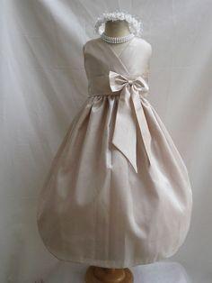 Flower Girl Dress CHAMPAGNE w/ Champagne VN for Baby Teen Children Toddler in Wedding Easter Bridesmaid Communion on Etsy, $34.00