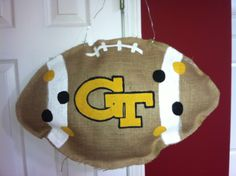 Georgia Tech Burlap Football Door Decoration #handmadebyme