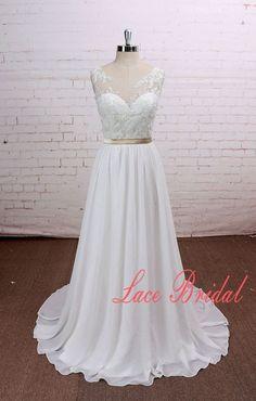 Romántica una línea gasa vestido de novia escote por LaceBridal