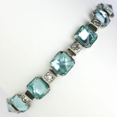 A stunning 1920s vintage Aquamarine, Diamanté bracelet to wear on a wedding day (or any day)