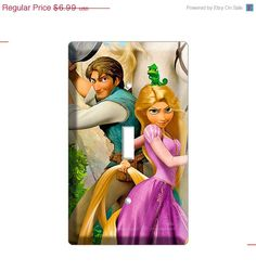ON SALE NOW Tangled disney movie princess Rapunzel Flinn Pascal chameleon Maximus single light switch cover plate children room girls pink r on Etsy, $6.29