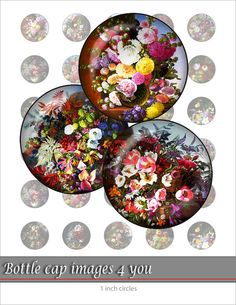 Digital Collage Sheet - Wildflowers- Bottle Cap Images for buttons, resin jewelry and magnet crafts