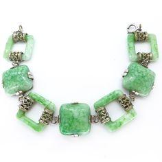 Vintage Art Deco Square Ornate Filigree Peking Glass Bracelet | Clarice Jewellery | Vintage Costume Jewellery