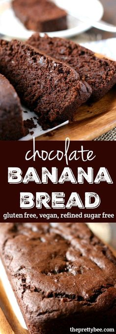 Bread (Gluten Free, Vegan, Refined Sugar Free) This chocolate banana bread is a healthier treat - it's refined sugar free!This chocolate banana bread is a healthier treat - it's refined sugar free! Chocolate Banana Bread, Chocolate Recipes, Vegan Chocolate, Chocolate Muffins, Chocolate Chocolate, Chocolate Bread Recipe, Sugar Free Chocolate Cake, Chocolate Mouse, Cooking Chocolate