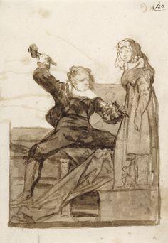 Pygmalion and Galatea; Francisco José de Goya y Lucientes (Francisco de Goya) (Spanish, 1746 - 1828); possibly about 1812 - 1820; Brush and sepia wash.