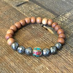 'Confidence and Healing', Pyrite, Sandalwood, and Tibetan guru bead – Lovepray jewelry #bracelets