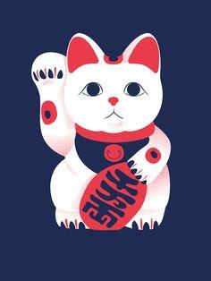Maneki Neko on Behance Neko Cat, Kawaii Cat, Maneki Neko, Kitty Cats, Kawaii Tattoo, Japanese Artwork, Japan Tattoo, Ragdoll Kittens, Funny Kittens