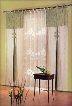 Two-tone curtains with center pleat.
