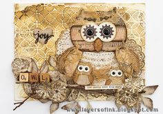 Layers of ink - Owl and Owlets Canvas Tutorial by Anna-Karin with Sizzix dies by Lori Whitlock and Tim Holtz.
