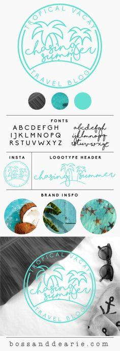 Minimalist logo and branding design by bossanddearie.com summer surf tropical coastal logo coastal branding