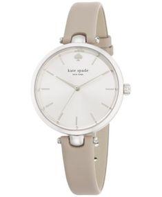 kate spade new york Women's Holland Gray Leather Strap Watch 34mm 1YRU0813 | macys.com