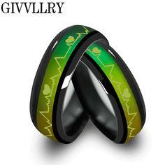 Titanium de la manera negro anillos de humor temperatura emoción sentimiento de compromiso anillos mujeres hombres 2016 anillos de la promesa para las parejas de joyería