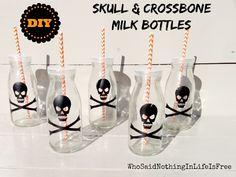 DIY Halloween Skull and Crossbone Milk Bottles