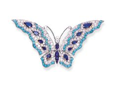 A TURQUOISE, SAPPHIRE AND DIAMOND BUTTERFLY BROOCH, BY BULGARI  With circular-cut diamond wings enhanced by turquoise trim and pear-shaped sapphires to the cabochon sapphire body and circular-cut diamond head, mounted in platinum and 18k gold, circa 1966, with French assay marks for platinum and gold By Bulgari