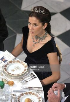 June 11, 2004--Crown Princess Mary Of Denmark Attends A Gala Dinner At Fredensborg Palace To Celebrate Prince Henrik'S 70Th Birthday.