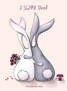 Elina Ellis Illustration: My Cards Lapin Art, Bunny Art, Whimsical Art, Cute Drawings, Easter Drawings, Rock Art, Cute Art, Painted Rocks, Stencil