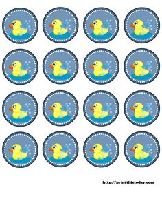 free printable baby shower round labels with duck