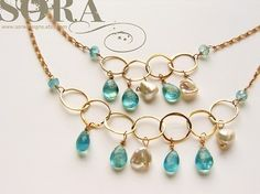 bib necklace Seafoam gemstone layered gold necklace by soradesigns, $132.24