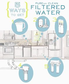 5 Ways to Get Pure, Clean Water in Your Home: Click through to learn the benefits of each of these five ways to filter the water in your home.