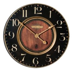 Black, Cream, and Gold Clock with Brass Details  Click here to purchase: http://www.houzz.com/photos/25636709/lid=13268694/Black-Cream-and-Gold-Clock-with-Brass-Details-traditional-wall-clocks