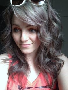 metallic silver brown hair.