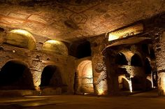 The Catacombs of Naples, in Campania, make for a millenary monument to Neapolitan religiosity. Of these, the Catacombs of San Gennaro cover approximately sq ft within tuff. Dragon Age 4, Dragon Age Origins, Naples, Monuments, San Gennaro, Dragon Age Characters, Ruined City, Grey Warden, The Catacombs