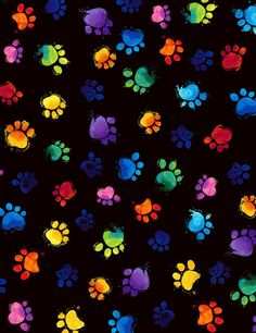 PREORDER MEOW-ZA rainbow cat paw prints on black cotton fabric by the yard, Timeless Treasures fabri Neon Wallpaper, Print Wallpaper, Wallpaper Iphone Cute, Aesthetic Iphone Wallpaper, Cellphone Wallpaper, Disney Wallpaper, Wallpaper Backgrounds, Cat Paw Print, Cat Fabric