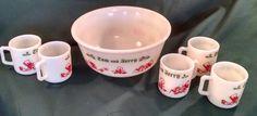 Vintage Tom and Jerry bowl with mugs, Hazel Atlas, milkglass, eggnog, Tom and Jerry, vintage Christmas, Christmas, Christmas glassware,glass by Vintagepetalpushers on Etsy