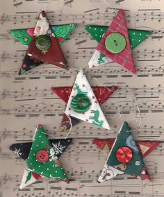 Star Christmas ornaments, fabric star, country cottage Christmas, Christmas decor, Christmas star, red green gold silver, tree decorations