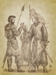 Barahir, son of Bregor, married Emeldir the Man-Hearted. They had one son, Beren. Barahir fought in the Dagor Bragollach at the Pass of Sirion. Near the Fen of Serech, he hastened to Finrod Felagund's rescue with a small retinue of his bravest men. They formed a wall of spears around the Elven King, and cut their way out of the battle at great loss. Finrod was safe, and in gratitude, swore an oath, promising help to Barahir and his kin should they need it, and he gave Barahir his ring.