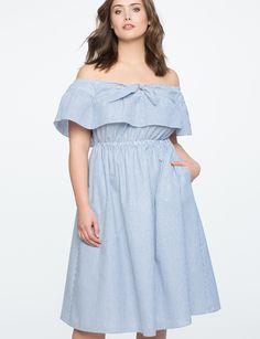 Frio ombro vestido plissado | Mulheres Vestidos Plus Size | ELOQUII