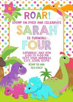 Custom PRINTED Girl Dinosaur Birthday Invitations