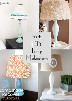 Creations by Kara: Round up of Lamp Makeovers - DIY Lamp and Lampshades - Diy Crafts Ideas Projects Diy Projects To Try, Home Projects, Diy Luz, Diy Para A Casa, Lampshades, Diy Lampshade, Do It Yourself Design, Lamp Makeover, Lamp Redo