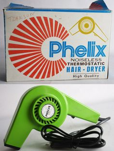 PHELIX NOISELESS THERMOSTATIC HAIR DRYER made in Greece ! The box shows shelf wear and tears and has some pen writings.   eBay!